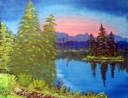 tableau paysages montagne lac foret bleu : îlot sur le lac
