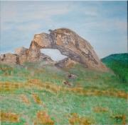 tableau paysages pierre percee huile pierre chatel le creys : La Pierre percée