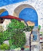tableau paysages provence bleu pont paysage : Pont et ciel bleu