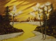tableau paysages foret lac dore paysage : lueurs dorées