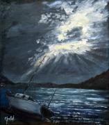 tableau marine marine mer bateau nuit : Echoué