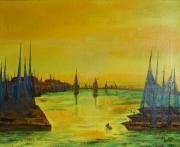 tableau marine bateau marine port soleil : Soleil levant