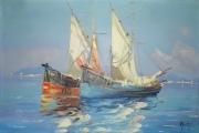 tableau marine bateau marine mer bleu : retour de pêche