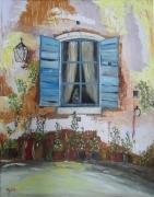 tableau architecture maison volet bleu huile : Volet bleu ouvert