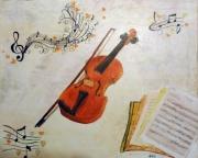 tableau autres musique huile violon note : le violon
