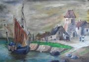 tableau marine marine bateau breton huile : Paysage breton