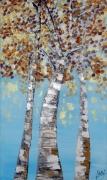 tableau paysages automne saison couleur huile : Bouleaux en automne