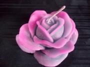 deco design fleurs bougies decoration rose cire : Bougie rose gm