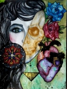 dessin personnages femme coeur roses : Upside down