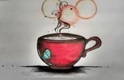 dessin scene de genre tasse rouge amour : Love tea
