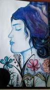 dessin personnages visage bleue fleurs : La dame en bleue