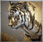 tableau animaux tigre or lin acrylique : Tigre en or
