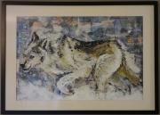 tableau animaux loup neige acrylique collage : Un Loup en chasse