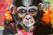 tableau animaux animal portrait monkey noeud papillon : Monkey mondain