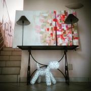 tableau abstrait abstrait contemporain diptyque : Couleurs