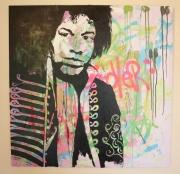 tableau personnages portrait jimmy hendrix street art : Jimmy
