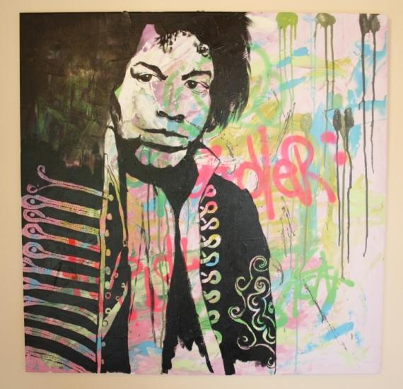 TABLEAU PEINTURE portrait jimmy hendrix street art Personnages Acrylique  - Jimmy