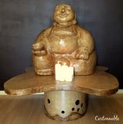 sculpture personnages bouddha papier mache carton : Bouddha rieur