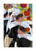 mixte scene de genre bretonnes folklore coiffes finistere : Les Riécoises en danse