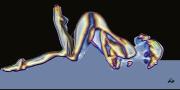mixte nus nu femme moderne : Nu black and blue