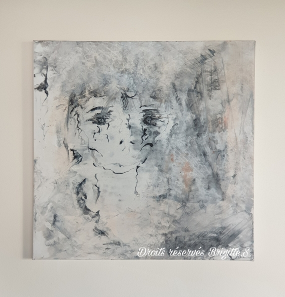 TABLEAU PEINTURE Abstrait Acrylique  - BRIGITTE