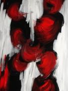 tableau abstrait contraste rouge amoureux : LES AMANTS
