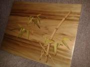 tableau paysages marqueterie incrustation bois vosges : Bambous au fil de l'eau du fleuve Yangtsé