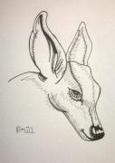 dessin animaux biche feutre petit format : Biche
