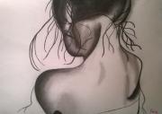 dessin personnages femme dos a3 : Femme vue de dos