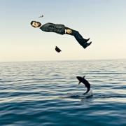 art numerique marine mer pelican homme levitation : AQUAPLANING