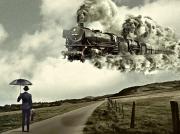 art numerique paysages ciel train fumee homme costume : La Halte