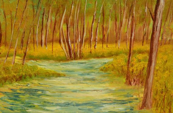 TABLEAU PEINTURE BOIS FORET CHEMIN FORESTIER Paysages Peinture a l'huile  - BOIS DE GRAYAN