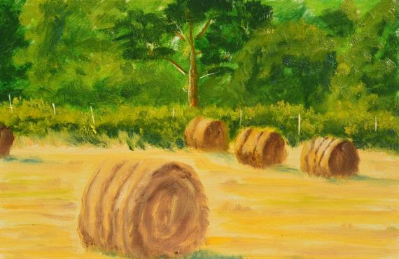 TABLEAU PEINTURE FOIN PRE Paysages Peinture a l'huile  - boule de foin