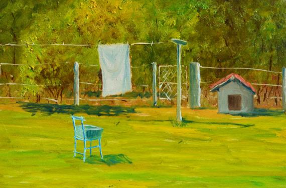 TABLEAU PEINTURE FIL A LINGE SECHER LE LINGE Paysages Peinture a l'huile  - FIL A LINGE