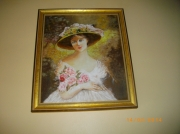 tableau personnages femme bouquet roses : femme du 19 eme