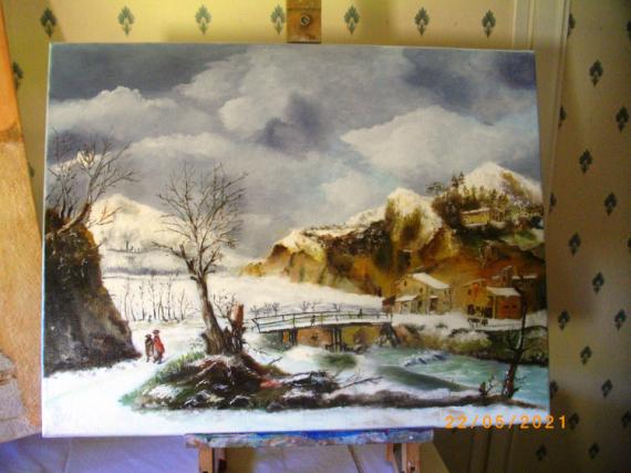 TABLEAU PEINTURE Paysages Peinture a l'huile  - hiver sous la neige