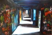 tableau architecture perspective graffittis couloir lumiere : Au fond du couloir la lumiere