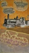 tableau scene de genre locomotive art deco : Saison automne: Le rail