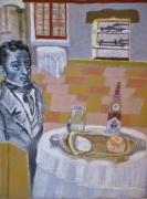tableau scene de genre gastronomie fromagerie vignoble : La Gastronomie