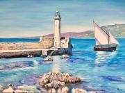 tableau marine phare propriano mer corse : Le phare de Proriano