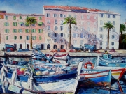 tableau marine ajaccio corse barque mediterranez : Le vieux port d4ajaccio