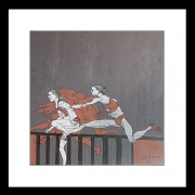 tableau sport course de haies femmes : jumping over