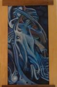 tableau abstrait abstraction baroque peinture ,a l hu toulouse bleu : Entrelacements bleus