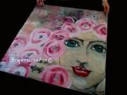 art textile mode personnages foulard carre soie : la dame aux fleurs