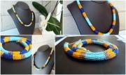 "bijoux perles bleu ciel bleu fonce orange : Collier ""Lotus Bleu"""