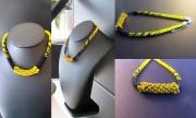 bijoux perles ethnique jaune noir : Collier ethnique JAUNE et NOIR