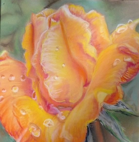 DESSIN rose fleur pastel Fleurs Pastel  - Perlée de rosée...
