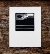 tableau scene de genre linogravure papier estampe original : Z.I.
