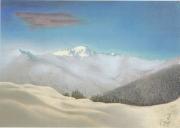 tableau paysages montblanc alpes neige soleil du soir : Le Mont-Blanc