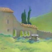 tableau paysages toscane cloitre soleil chaleur : Midi en Toscane